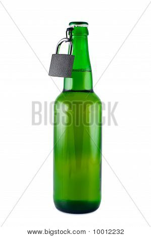 Beer, Bottle, Padlock Isolated White, Set. Clipping Path.