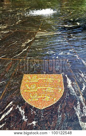 Coat Of Arms Of Great Britain, Represented In The Hanseatic Fountain In Veliky Novgorod, Russia