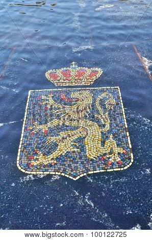 Coat Of Arms Of Belgium, Represented In The Hanseatic Fountain In Veliky Novgorod, Russia