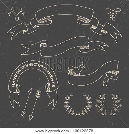 Hand Drawn Doodle Design Elements. Decorative Floral Banners, Dividers, Branches, Ribbons. Chalk Dra