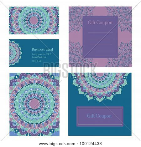 Mandala business set. Vector background. Business cards, invitation, sale coupon, gift coupon.