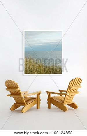 Miniature adirondack chairs on white