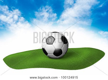 Land With Soccer Ball In The Sky