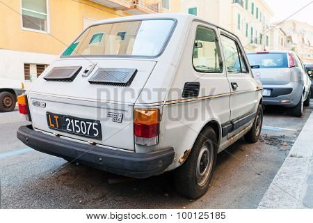 Gray Fiat 126, Type 126 Is A Small City Car