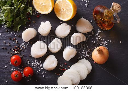 Raw Scallops And Vegetables For Cooking Close-up. Horizontal Top View