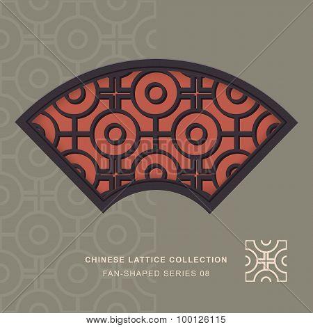 Chinese window tracery lattice fan shaped frame 08 cross round