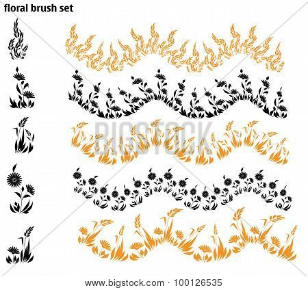 set of vector brush with herb