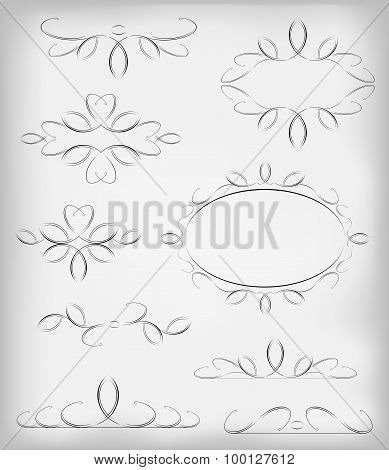 Black and white vector set a lot of design elements and page decoration. EPS10 vector illustration