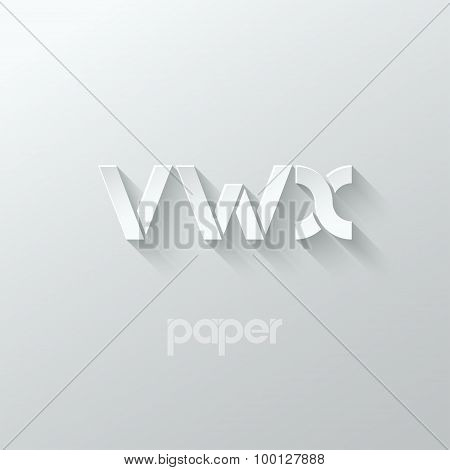 letter V W X logo alphabet icon paper set background