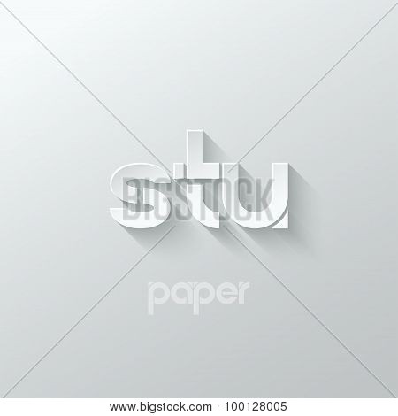 letter S T U logo alphabet icon paper set background