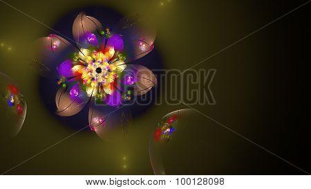 Illustration Of A Fractal Fantastic Bright Shiny Flower