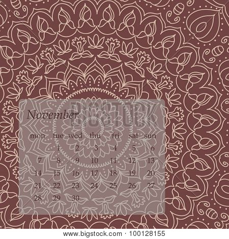 Mandala Calendar November 2016. Vintage decorative elements. Oriental pattern, vector illustration.