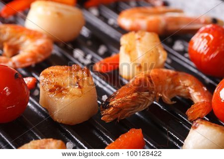 Scallops, Shrimp And Vegetables On Grill Macro. Horizontal