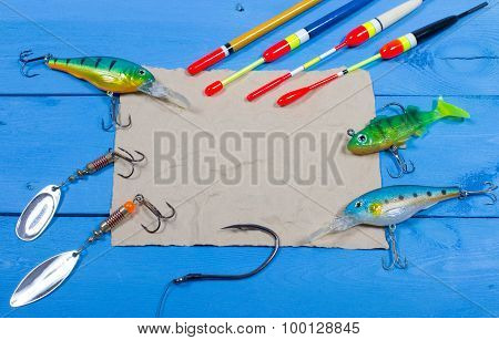 Wobbler, Floats And Fishing Accessories With Space For Inscription