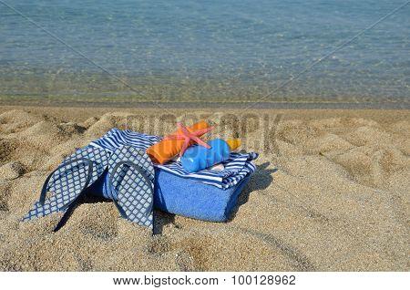Blue Beach Set On Sea Coast