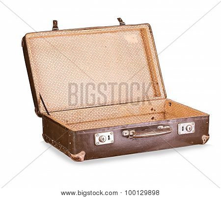 Old Suitcase Close-up Isolated On A White Background