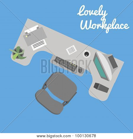 Flat Vector Office Workplace