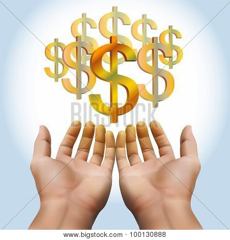 Hand Receiving Money Or Gold