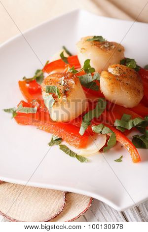 Fried Scallops With Red Pepper Close-up On A Plate. Vertical