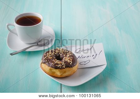 Donuts On Saucer With Note Good Morning