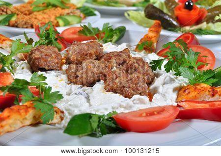 Turkish kebab grilled meatballs