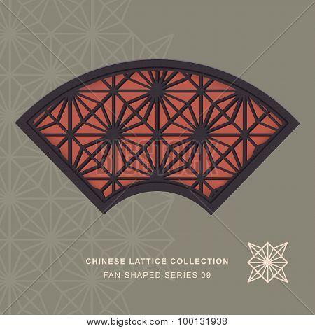 Chinese window tracery lattice fan shaped frame 09 diamond flower