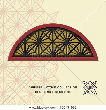 Chinese window tracery lattice semicircle frame 09 diamond flower