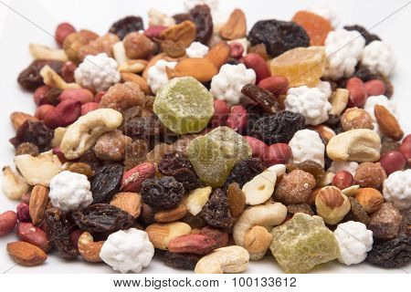 a mixture of nuts and dried fruits view from the top closeup