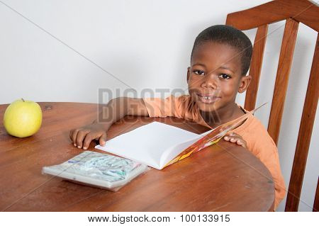 Schoolboy studyingin the evening at home.