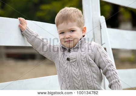 2 Years Old Baby Boy On The A White Picket Fence Beside The Horse