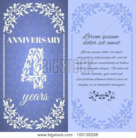 Luxury template with floral frame and a decorative pattern for the 4 years anniversary. There is a p