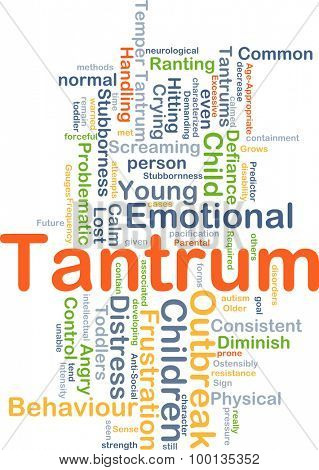 Background concept wordcloud illustration of tantrum