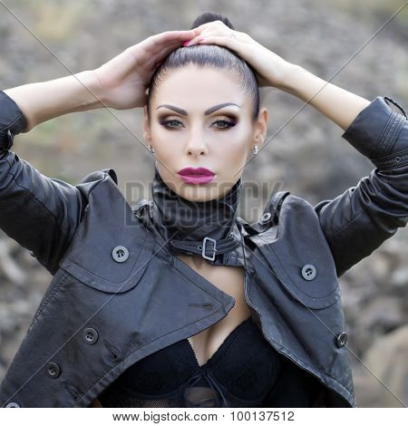 Woman In Biker Jacket