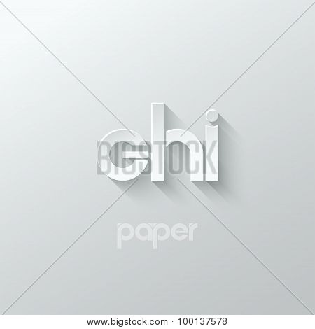 letter G H I logo alphabet icon paper set background