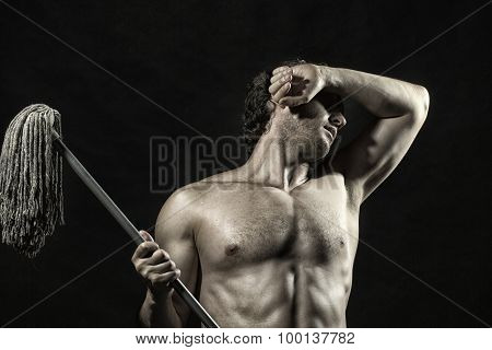 Attractive Man With Swab