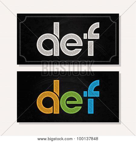 letter D E F logo alphabet chalk icon set background