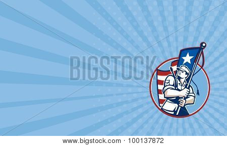 Business Card American Patriot Serviceman Soldier Flag Retro