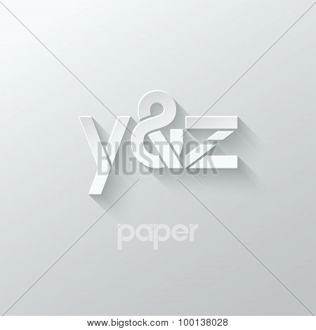 letter Y and Z logo alphabet icon paper set background