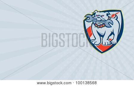 Business Card Bulldog Spanner Mascot Shield