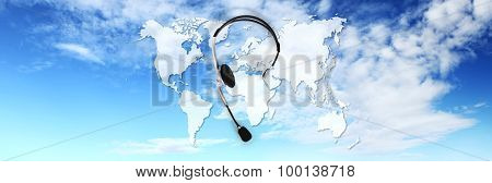 Contact Concept , Headset On Blue Sky, And Map