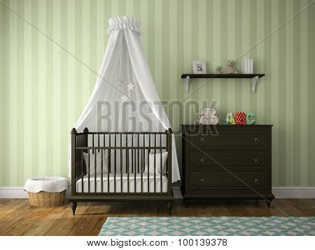 Part of classic children room with cradle 3D rendering