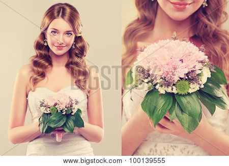 Girl bride  in wedding dress with elegant hairstyle and with a wedding bouquet