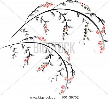 Pattern in the form of berry and red flower branches. EPS10 vector illustration