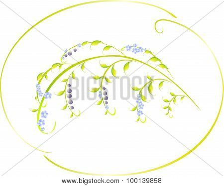 Pattern in the form of berry and blue flower branch. EPS10 vector illustration