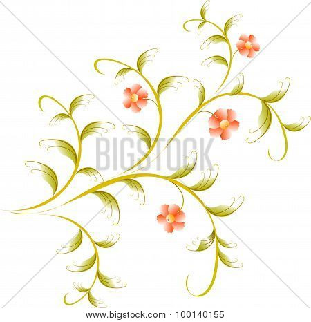 Pattern in the form of red flower branch. EPS10 vector illustration