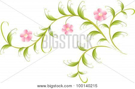 Pattern in the form of plum branch. EPS10 vector illustration