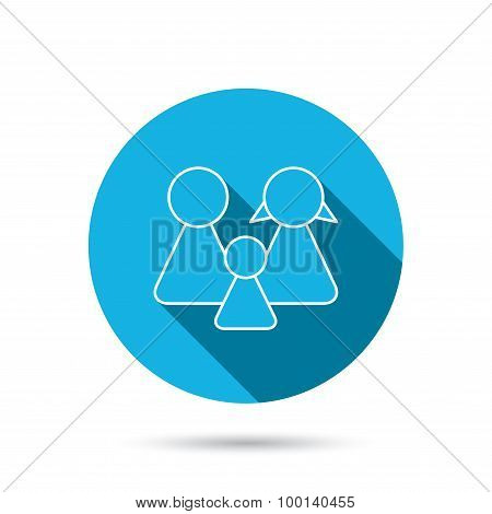 Family icon. Male, female and child sign.