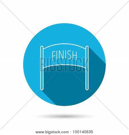 Finish banner icon. Marathon checkpoint sign.