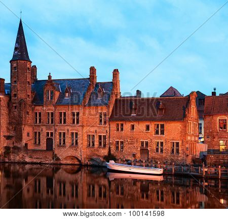 Canal in Brugge, Belgium. Bruges historic centre at Night. View from the Rozenhoedkaai.