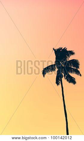 Retro Pastel Colored Single Palm Tree